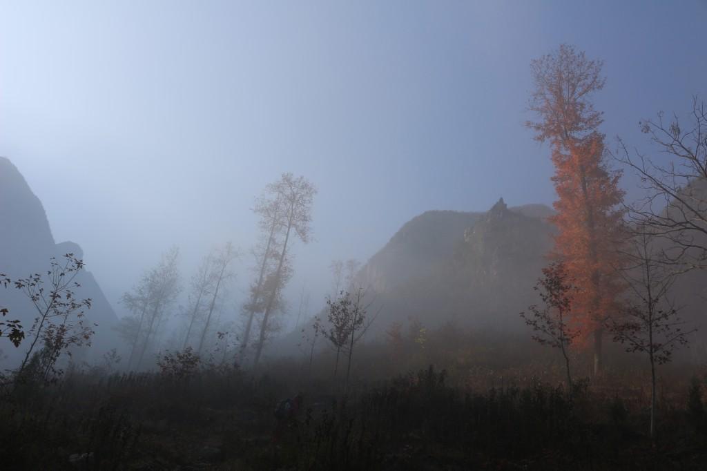 En chemin vers le sommet de la falaise, le brouillard laisse place au rayons du soleil.